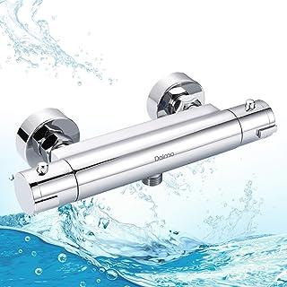 Grifo de ducha termostático, Dalmo DBWF01GR, mezclador termostático de bañera a 38 grados y botón de seguridad y de latón ...