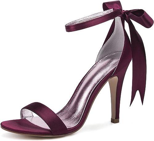JRYYUE schuhe de Novia damen Hebilla Satén Peep Toe Mary Jane Court Kitten Prom High Heels 10.5CM