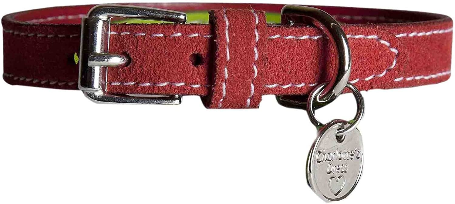 Charlotte's True Calf Leather Collar with Glittered Studs, 0.66inch20 cm, Red