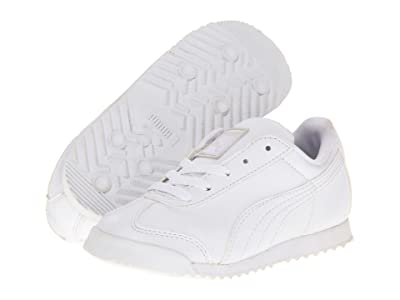 PUMA Kids Roma Basic Kids (Toddler/Little Kid/Big Kid) (White/Light Gray) Boys Shoes