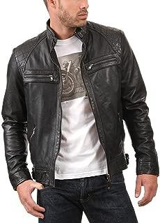 Men's Genuine Lambskin Leather Jacket (Black, Biker Jacket) - 1501344