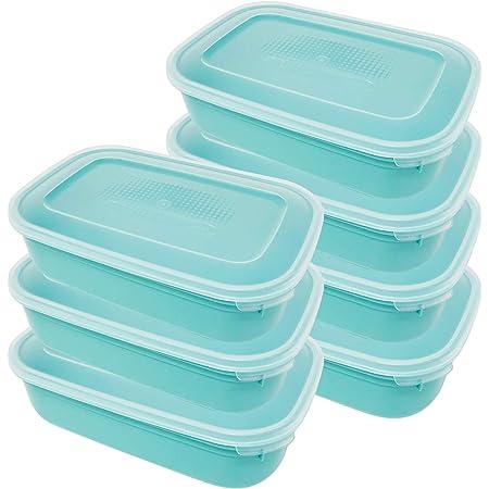 Codil Lot de 7 boîtes de rangement, récipients de cuisine, récipients réutilisables, récipients en plastique, rectangulaires, pour congeler et conserver des aliments frais, vert, 0,8 l