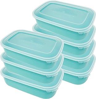 Codil Lot de 7 boîtes de rangement, récipients de cuisine, récipients réutilisables, récipients en plastique, rectangulair...