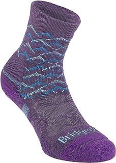 Bridgedale 710097 Women's Lightweight Ankle Height Merino Endurance Socks, Medium, Purple/Aqua