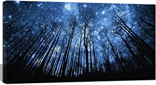 Visual Art Decor Fancy Blue Starry Night Forest Tree Silhouette Canvas Wall Art Nature Scenery Picture Prints Home Office Wall Decoration Modern Contemporary Art