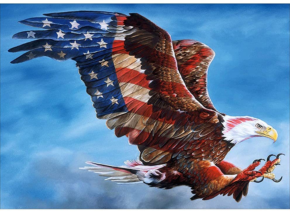Diamond Paintings WisLotife Full Drill Round Rhinestone Crystal Embroidery Pictures for Home Wall Decoration American Eagle 16