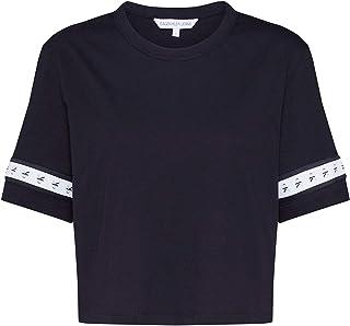 Calvin Klein Jeans Women's MONOGRAM TAPE STRAIGHT CROP TEE T-Shirts, Black (Ck Black 099), Large