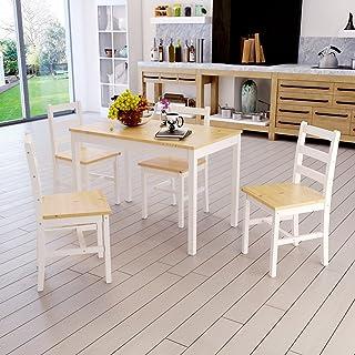 Anaelle Ensemble Table en Bois + 4 Chaises pour Salle à Manger, Cuisine, Séjour, Café (Blanc+Bois)