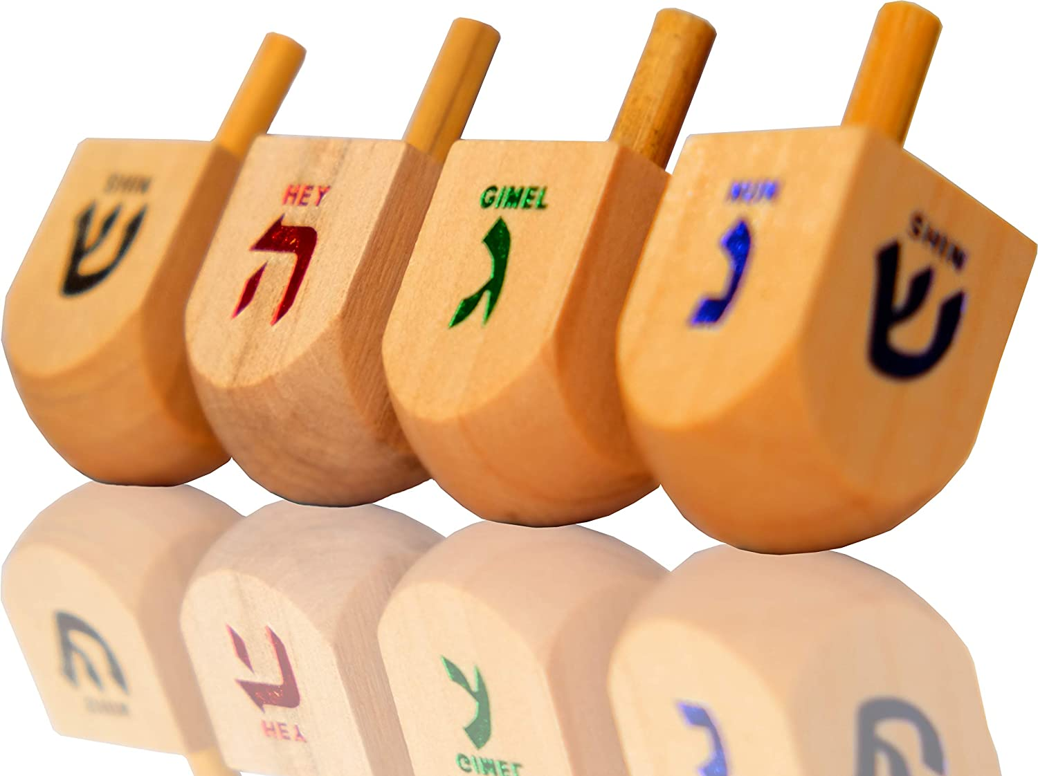 Let's Play Dreidel The Hanukkah Game 4 Natural Wooden Draydels with Instructions for Chanukah - Instructions Included