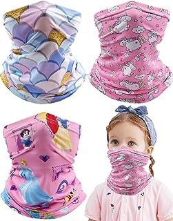 Kids Neck Gaiter Balaclava, 3 Pcs Summer UV Protection Face Cover Bandana, Pink Mask Toddler Half Face Protective Reusable...