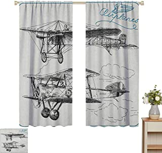 June Gissing Airplane Curtain Decoration Classic Nostalgic Planes Aircraft Propeller in The Sky Fast Travel Wings Sketch Fit Window Curtain Assorted Colors, Styles & Sizes W55 x L45 Blue Black