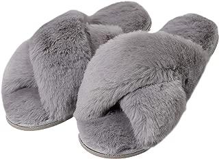 Dechic Women's Cross Band Soft Plush Fleece Slippers Fuzzy Fluffy on Open Toe Anti-Slip Rubber Sole House/Outdoor Slippers