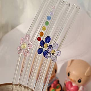 """A.B Crew Pack of 4 Colorful Angled 8.7"""" Glass Straw with Straw Brush (3 Flowers+1 Beeded)"""