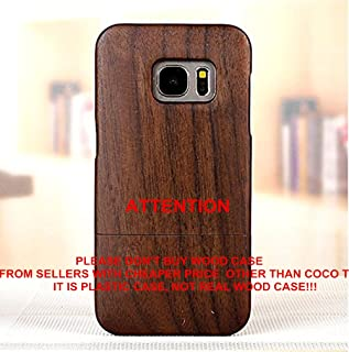 Galaxy S7 Edge case, S7 Edge wooden case CoCo@ 100% Unique Genuine Handmade Natural Wood Case Hard Bamboo Shockproof Case as Artwork for New Samsung Galaxy S7 Edge G9350 (2016)(Walnut Wood)