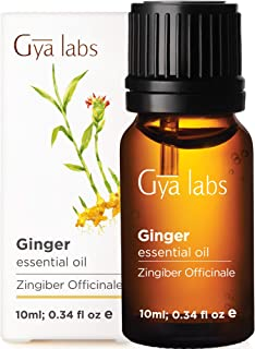 Gya Labs Ginger Essential Oil - Great for Lymphatic Drainage Massage, Swelling & Healthier Hair Growth - 100% Pure Therapeutic Grade Ginger Oil for Aromatherapy & Topical Use - 10ml