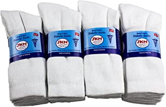 12 Pack Physician Approved Diabetic Circulatory Neuropathy Crew Socks for Men & Women by JKN (White, 9-11)