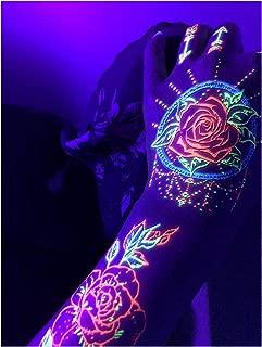 d'IRIS studio Glow in The Dark Party Blacklight Tattoos -Temporary Rave UV Neon Night Rose Dream Catcher Decorations Birthday Supplies Favors Accessories Sticks Nightclub Dance Rainbow Festival