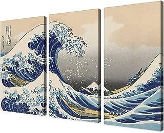 DECORARTS - The Great Wave Off Kanagawa(Triptych), Katsushika Hoki. Classic Art Reproduction, Giclee Print On Canvas. Stretched Canvas. 48x32