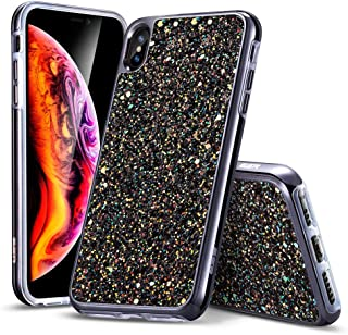 ESR Glitter Hard Case for iPhone Xs/iPhone X, Bling Hard Cover with Dual-Layer Structure [Hard PC Back Exterior + Soft TPU Interior] for The iPhone 5.8 inch(2018 & 2017)(Black)
