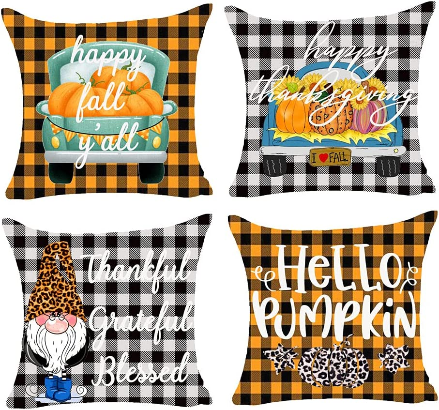 Bnitoam Set of 4 Happy Fall A surprise price is realized Ch Pumpkin Plaid San Diego Mall Truck Y'all Buffalo