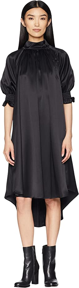 Silk Charmeuse Mock Neck Dress w/ Smocked Sleeves