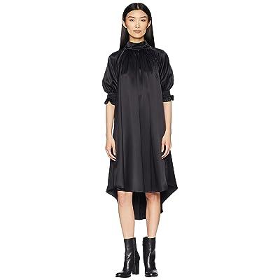 Adam Lippes Silk Charmeuse Mock Neck Dress w/ Smocked Sleeves (Black) Women