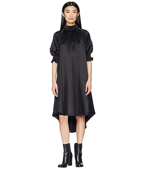 Adam Lippes Silk Charmeuse Mock Neck Dress w/ Smocked Sleeves