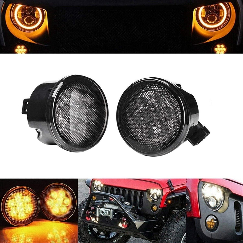 XGLAI LED Calandre Voiture Clignotants Signal for Jeep Wrangler JK 2007-2018 Color : Black