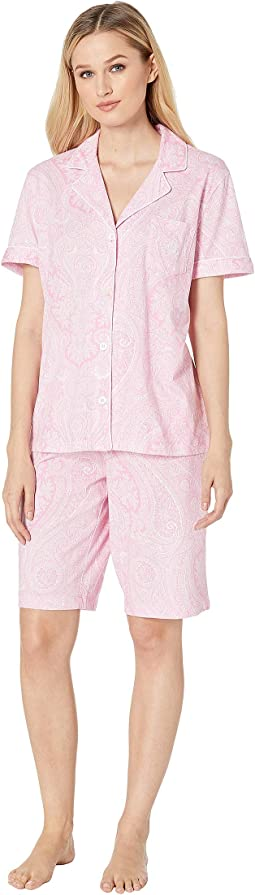 Short Sleeve Notch Collar Bermuda PJ Set