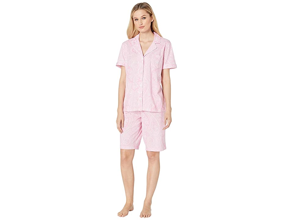 LAUREN Ralph Lauren Short Sleeve Notch Collar Bermuda PJ Set (Pink Paisley) Women