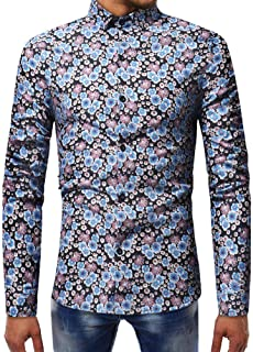 SPE969 Men's Floral Printed Button Down Shirt,2 Colors Printed Blouse Casual Long Sleeve Slim Shirts Tops