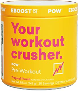 EBOOST POW Natural Pre-Workout Powder – 20 Servings - Tropical Punch - A Pre Workout Supplement for Performance, Joint Mob...