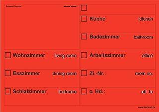 20x Umzugsetiketten Nr.2, 148x105 - A6, Beschriftung mit Etiketten vom Umzugskarton für den Umzug, Umzugetiketten, Rot