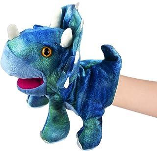 يد ديناصور محشوة من القطيفة - دمى للأطفال الصغار، دمى حيوانات تي-ريإكس مع فم متحرك، ألعاب هدايا دينو لرواية القصص في مرحلة...