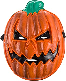 Halloween LED Pumpkin Mask- Glowing EL Wire Pumpkin Light Up Cosplay Cushaw Mask Orange for Halloween Costume Party, Carnival, Masquerade, Festival Supply