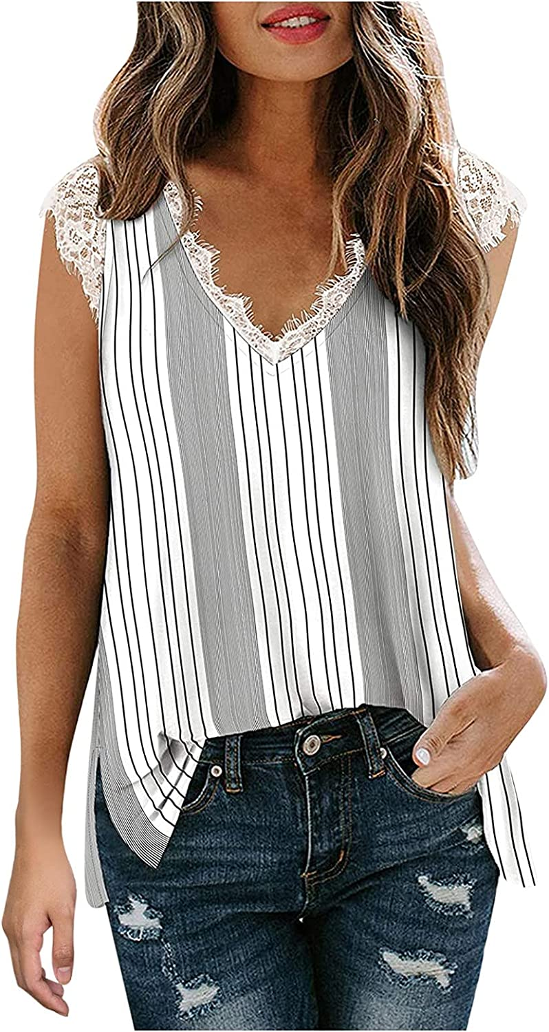 Womens Summer Stripe Nippon regular agency Print List price Tank Patchwor Tops Casual V-Neck Lace