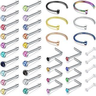 حلقه های بینی Incaton، 33PCS 22G 316L جواهرات بدنه فولاد ضد زنگ جراحی سوراخ حلق های حلقه بینی