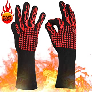 KITHELP BBQ Gloves, Grilling Gloves 1472? Extreme Heat Resistant Grill Gloves, Food Grade Kitchen Oven Mitts, Silicone Non-Slip Cooking Gloves for Barbecue, Cooking, Baking, Welding, Cutting