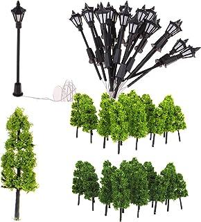IPOTCH Uppsättning av 20 modellträd miniatyrlandskap med gatubelysning set