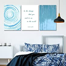 3 Panel Abstract Blue Circles and Tree Reflection on Water with Inspirational Quotes Gallery 16 x24 x 3 Panels