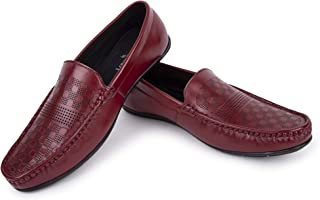 LOUIS STITCH Carnelian Red Handmade Genuine Leather Moccasins Loafers