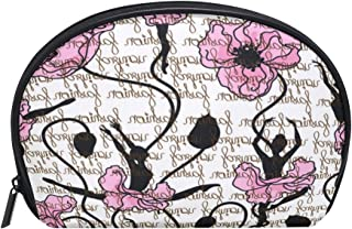 ALAZA Dancer Floral Half Moon Cosmetic Makeup Toiletry Bag Pouch Travel Handy Purse Organizer Bag for Women Girls