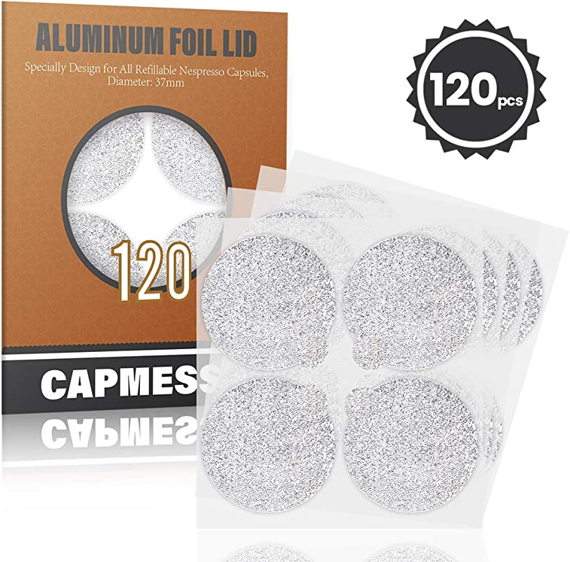 CAPMESSO Espresso Foils Coffee Pod Seal Lids To Reusable Nespresso Capsules Refillable Pods Compatible With Nespresso Original Line Machines120PCS Package