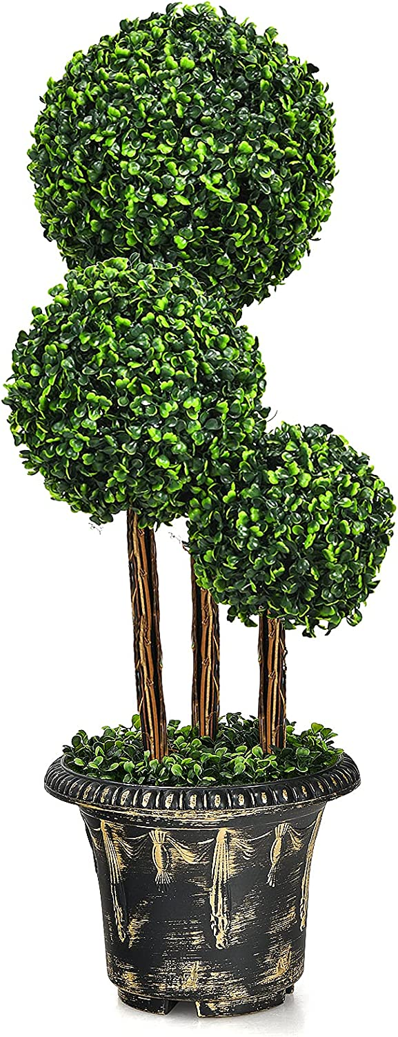 Goplus 3 Ft Artificial Boxwood Plant Greenery Topiary Challenge the lowest price of Fort Worth Mall Japan Tree Fake