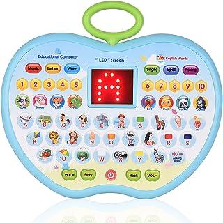 لعبة كمبيوتر لوحي تعليمية مبكرة لعبة تعليمية للأطفال الصغار مع شاشة LED مزودة بـ 8 أوضاع تعلم هدية للأعمار من 3-6 أطفال