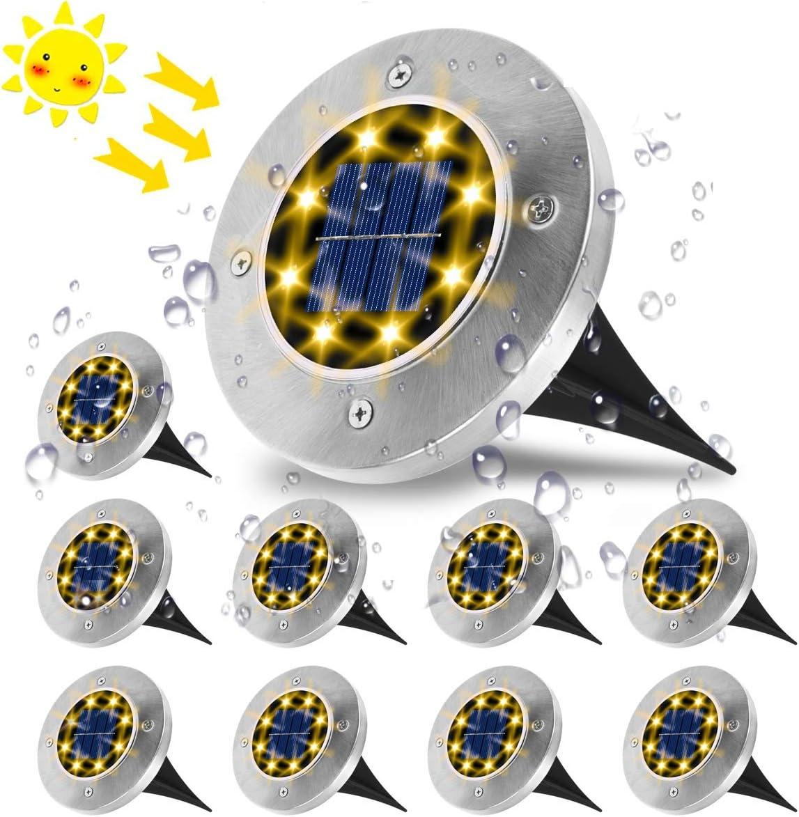 Luces Solares para Exterior, NKW Luz Focos led Exterior Solar Luz de Jardin IP65 impermeable Lámpara de exterior acero inoxidable para césped Camino Patio Jardín Lámpara -Blanco cálido