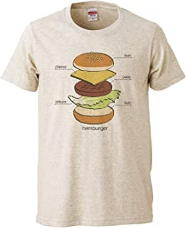 [Chara Park] ハンバーガー プリントTシャツ ユニセックス M L グレー サンドカーキ オートミール