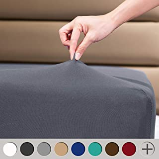 """COSMOPLUS Fitted Sheet Full Fitted Sheet Only(No Flat Sheet or Pillow Shams),4 Way Stretch Micro-Knit,Snug Fit,Wrinkle Free,for Standard Mattress and Air Bed Mattress from 8"""" Up to 14"""",Gray"""