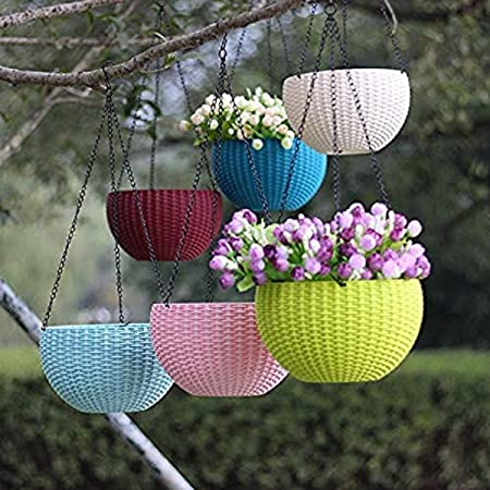 Abasr Plastic Hanging Pot and Flower Pot with Chain Plant Container Set, 6-inch, 6 Piece, Multicolour