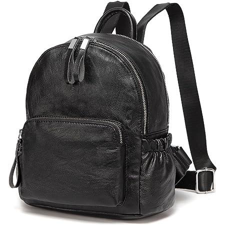 Mini Rucksack Damen, VASCHY Pu Leder Klein Rucksack Mädchen Mode Schultasche Elegant Casual Daypack for Reise Einkaufen Student Teenager Schwarz